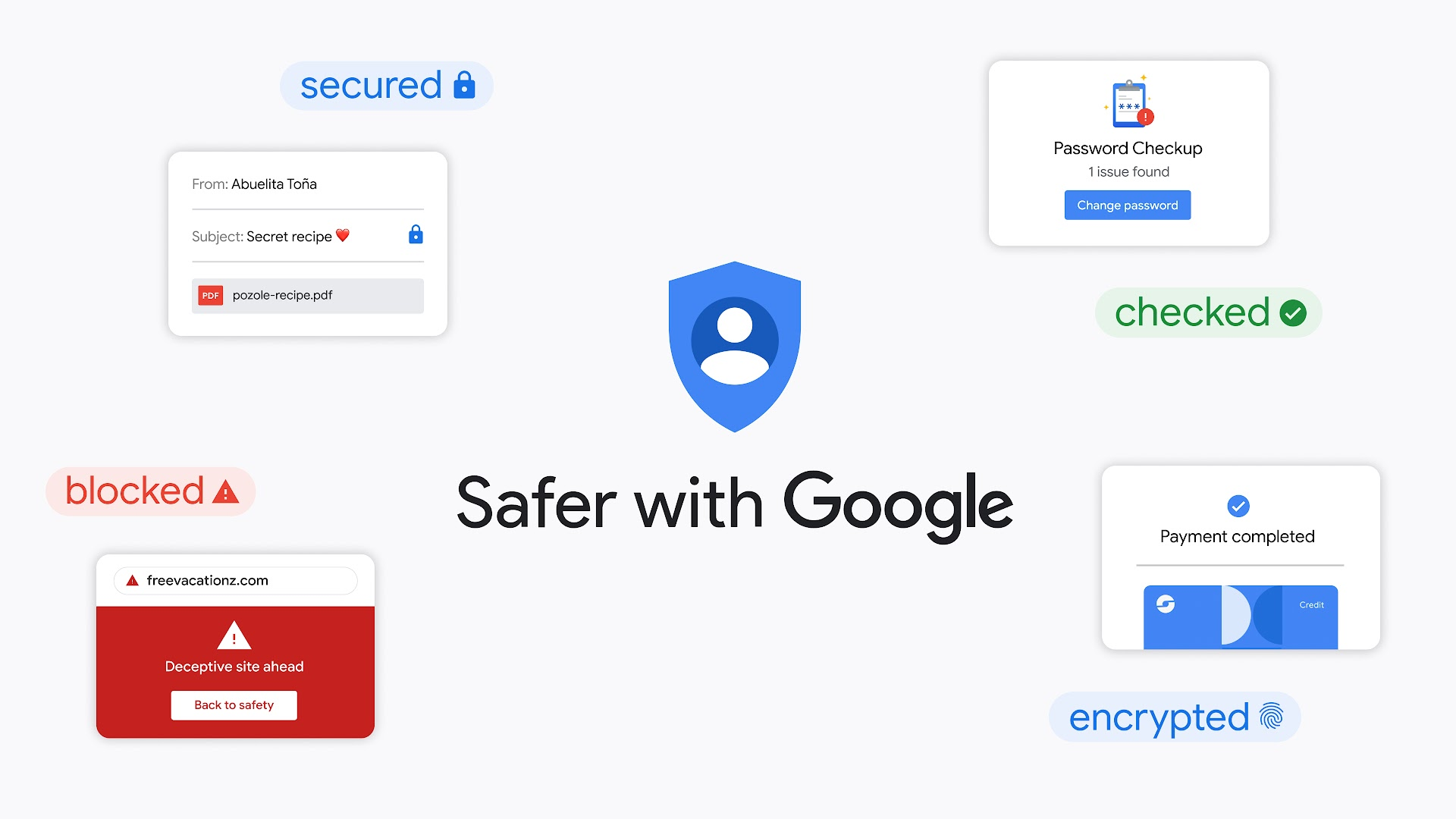 Safer with Google lock up with privacy and security product UIs