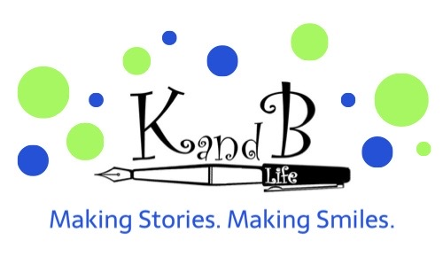 Lime green and blue K and B Life Logo