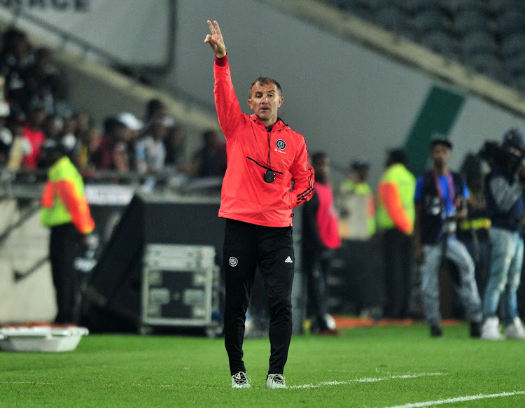 Milutin Sredojevic , coach of Orlando Pirates during the Absa Premiership 2018/19 match between Orlando Pirates and Supersport United at Orlando Stadium, Johannesburg on 15 September 2018.