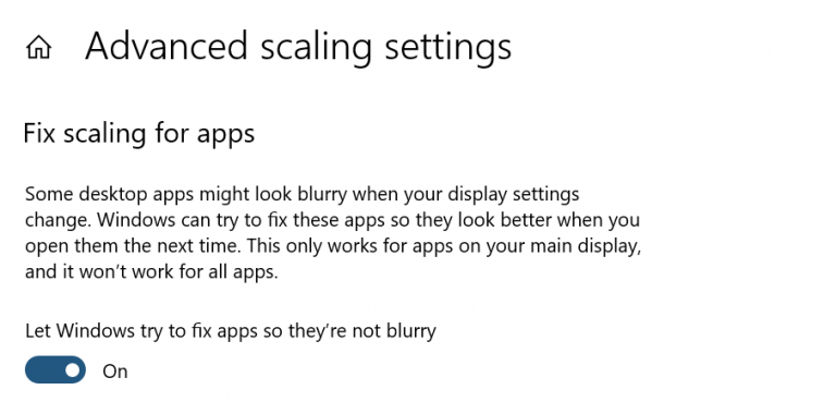 Fix scaling for apps setting