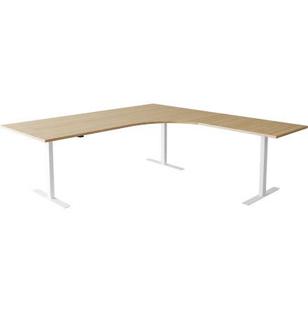 Hörnskrivbord el vit/björk 180