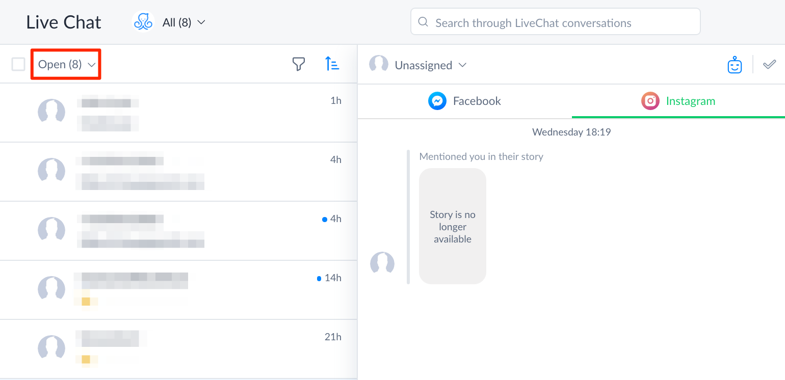 Live chat dashboard with Facebook and IG 2