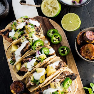 Grilled Jerk Chicken Tacos with Gold Kiwifruit Salsa.