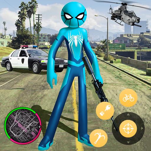 New Spider Stickman Rope Hero Shooting Crime 2020