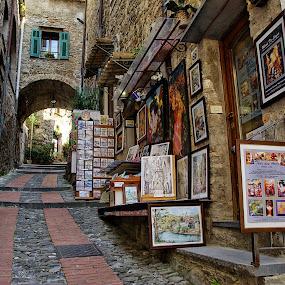 The street of artists by Roberta Sala - City,  Street & Park  Street Scenes ( dolceacqua, street, artist, italy, street photography )