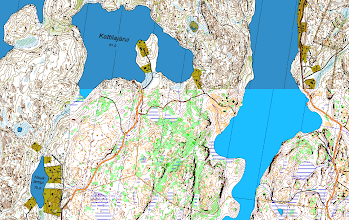 Photo: A mixture of an orienteering map ((c) Helsingin Suunnistajat) and Karttapullautin map (Lake Kattilajärvi, Espoo).
