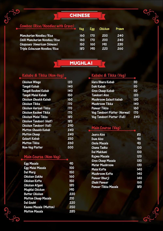 Eagles  menu 3