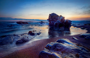 Photo: TWILIGHT TIDES On the first night of my trip to California, my friend took me to Shell Beach, which is always a great place for photo opportunities. There are several close rock formations that really create a dramatic scene.
