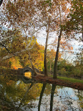 Photo: Beautiful fall day with a stone bridge reflected in a pond at Eastwood Park in Dayton, Ohio.