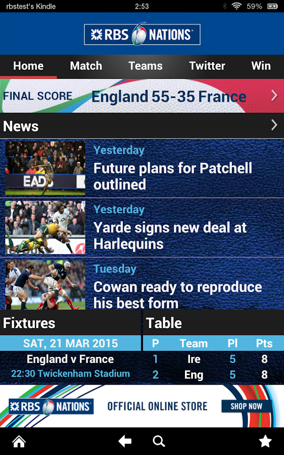 RBS 6 Nations Championship App- screenshot