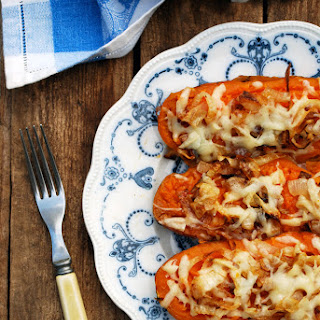 Twice Baked Sweet Potatoes with Caramelized Onions and Gruyere