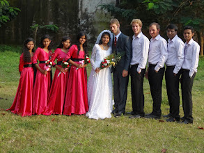 Photo: The bridal party. David's brother Jonathan and his brother- in- law Lloyd were part of the bridal party.