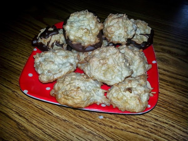 Variation 1: Dip the bottom of the macaroon in chocolate.  Variation 2: Before placing...