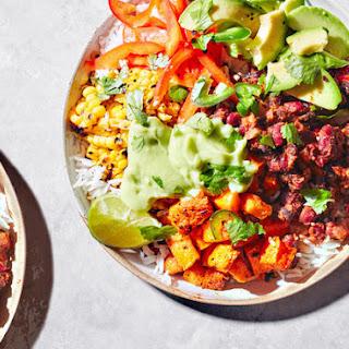 Vegan Burrito Bowls With Avocado And Refried Beans.