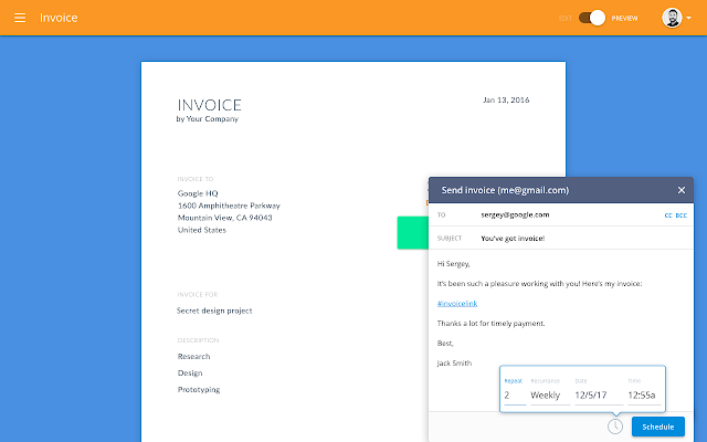 Invoiceto G Suite Marketplace - Top rated invoice software