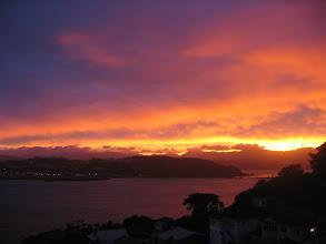 Photo: A fiery orange sunrise over Lyall Bay - 6:41am, 18-Feb-04
