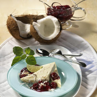 Coconut Ice Cream with Cherry Compote