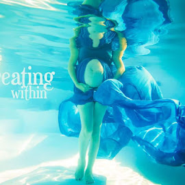 Maternity by Kevin Leeuw - Typography Captioned Photos ( expecting, dress, blue, maternity, pregnancy, underwater, boy )