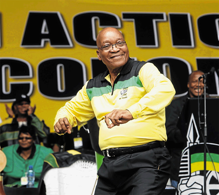 ANC leader President Jacob Zuma dances at the party's anniversary celebrations in Durban in January 2013. Picture: SUNDAY TIMES