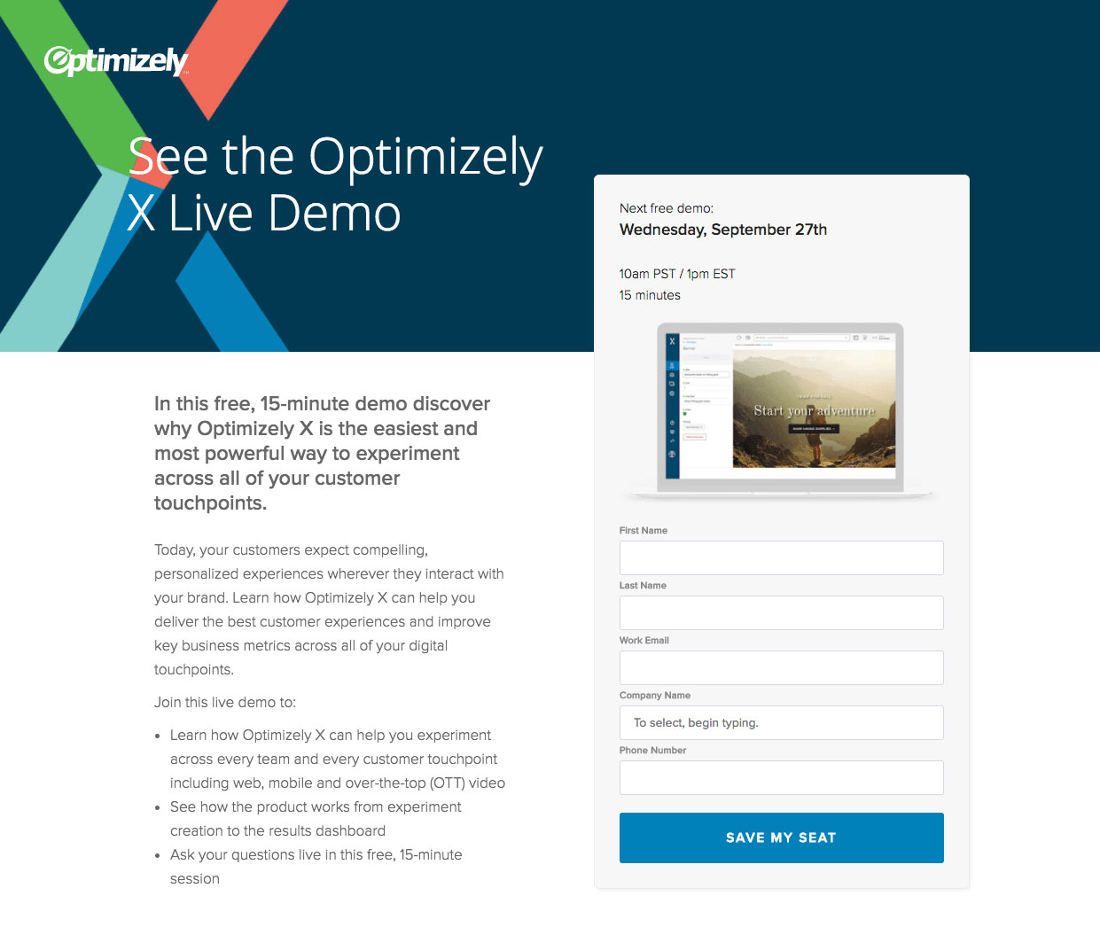Optimizely landing page
