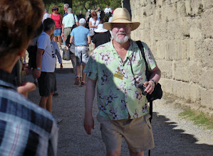 Photo: Jim enters the ancient Olympic Stadium from the Gymnasium area.