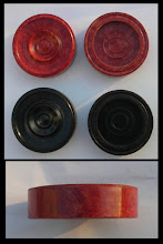 Photo: CH352 Bakelite pieces  front, back and side views  The filler, commonly seen in Bakelite plastic, is clearly visible in the 'white' side pieces.