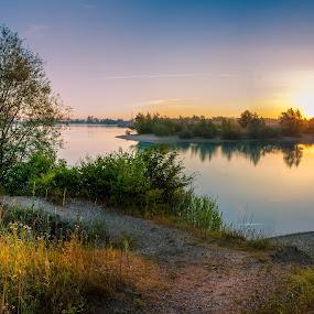 Let the Sunshine onto the Lake by Dražen Škrinjarić - Landscapes Waterscapes ( water, europe, pathway, colorful, croatia, velika gorica, lake, zagreb, morning, dusk, cice, sky, tree, color, trees, summer, sunrise )