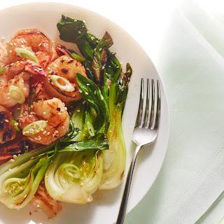 Roasted Hot-Honey Shrimp with Bok Choy and Kimchi Rice
