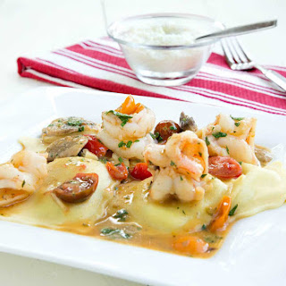 Ravioli and Shrimp Scampi.