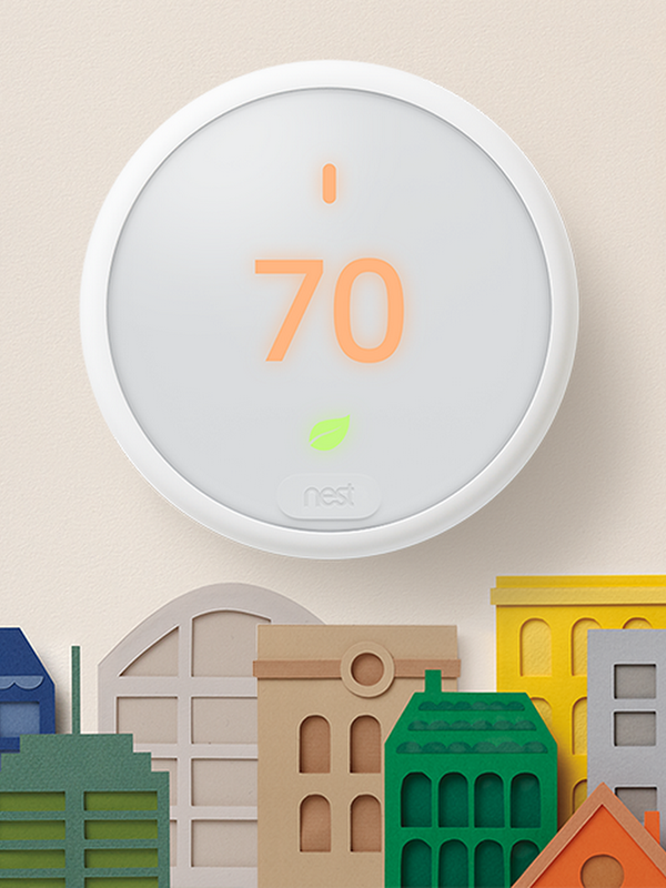 Nest E Thermostat on a wall