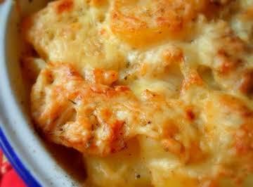 Cheese and Onion, Potato and Cauliflower Bake