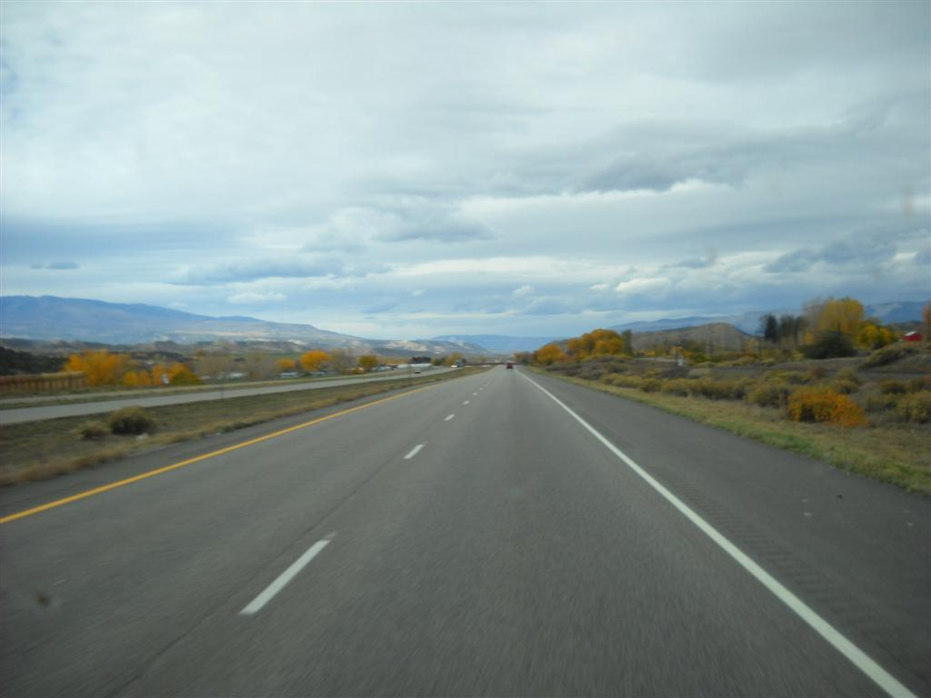 Photo: Snow to come to Boulder that night, but it was clear through the mtns. Past Rifle, the cottonwoods were beautiful.
