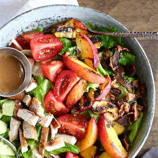 Grilled Nectarine & Chicken BLT Salad with Tahini Balsamic Dressing