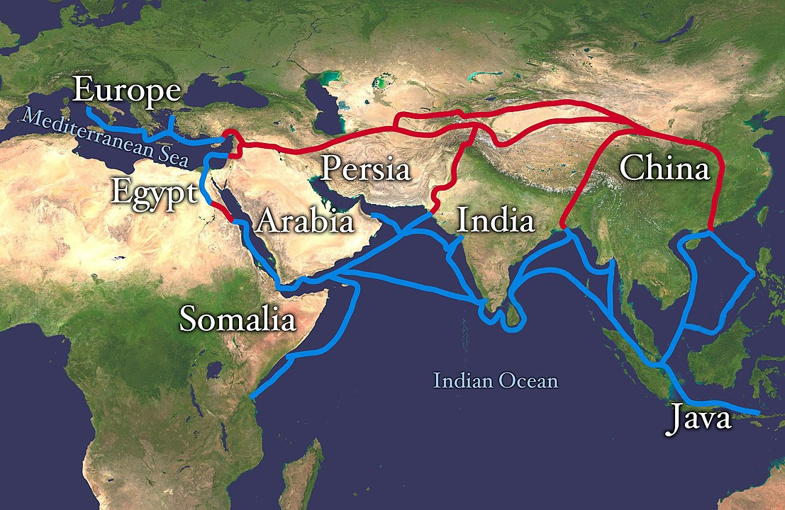 A map showing the ancient Silk Road trade route and water trade routes of Asia to Europe and Africa are shown in this file photo.