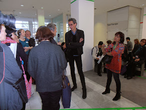 """Photo: Professor Hansjerg Maier-Aichen (Karlsruhe University of Design) interviews Sebastian Bergne, curator of the Solutions 2014 exhibit of """"Innovative Products for Kitchen and Household."""" #ambiente14 #presstour"""