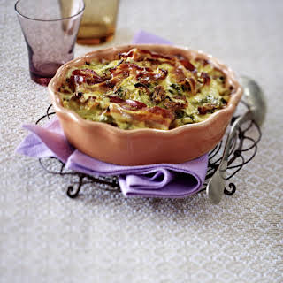 Creamy Savoy Cabbage and Bacon Pasta Casserole.
