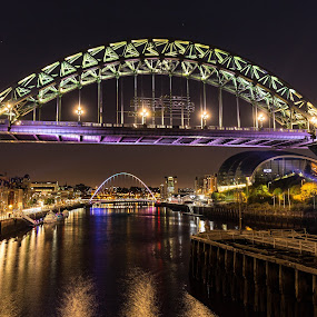 Quaiside Lit Up by Davey T - City,  Street & Park  Historic Districts ( quayside, gateshead, night, newcastle )