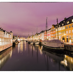 Copenhagen by night by Romano Alberto Basso - City,  Street & Park  Night ( copenhagen, boats, cityscape, denmark, river, nightscape )