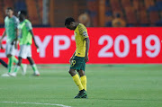 South Africa's Percy Tau looks dejected after the Afcon quarter-final match which ended 2-1 in favour of Nigeria at Cairo International Stadium in Cairo, Egypt, on July 10 2019.