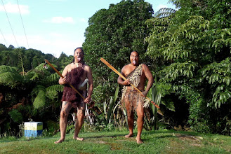 Photo: We met these Maori gentlemen when we walked in the Waimangu Volcanic Valley.  The valley is a very active georthermal site.