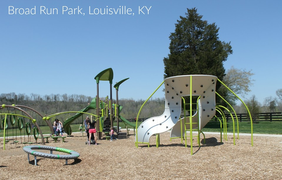 The playground at Broad Run Park. Broad Run Park is the newest addition to The Parklands of Floyds Fork, a huge park system in Louisville, KY