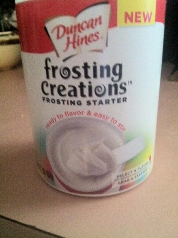 Open can of frosting starter and form a well in center with a spoon.