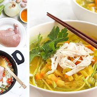 Turmeric Chicken Soup with Zucchini Noodles.