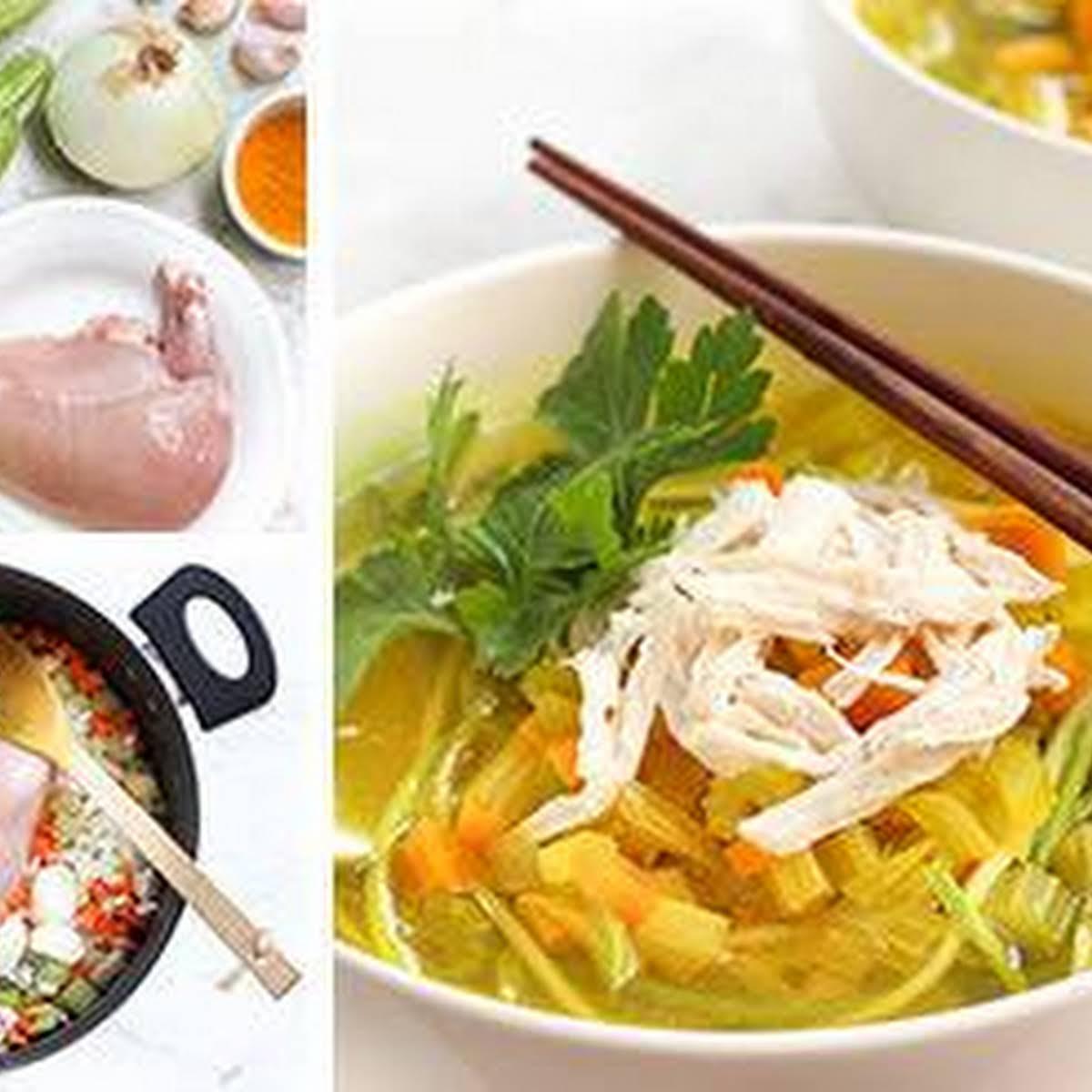 Turmeric Chicken Soup  next Zucchini Noodles