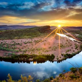 Australiana by Rebecca Ramaley - Landscapes Sunsets & Sunrises ( west australia, el questro, kimberley, outback, sunrise, river,  )
