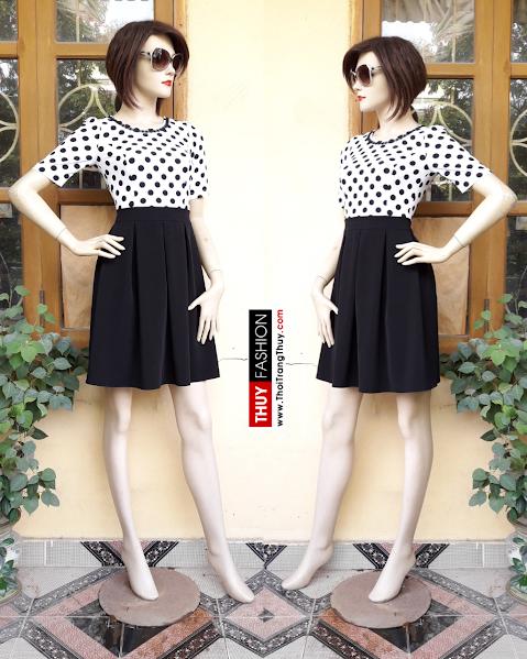 Váy xoè xếp ly phối chấm bi đen trắng V305 tại thời trang thuỷ