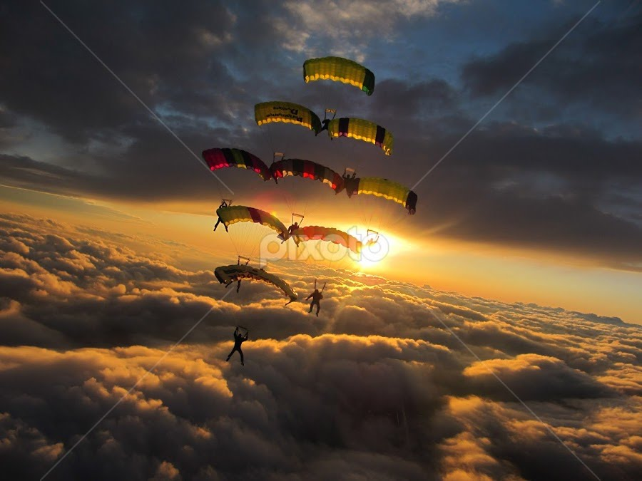 Heavenly by April Schuldt - Sports & Fitness Other Sports ( clouds, skydiving, parachutes, april schuldt )