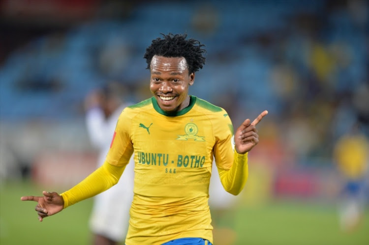 Percy Tau of Mamelodi Sundowns during the Absa Premiership match between Mamelodi Sundowns and Bidvest Wits at Loftus Versfeld Stadium on April 14, 2018 in Pretoria, South Africa.