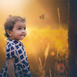 Baby and The butterfly by Tuhin Biswas - Babies & Children Child Portraits