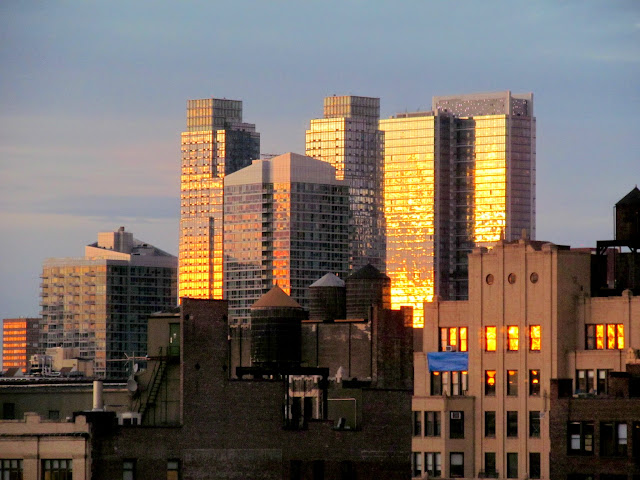 Sunset light on buildings